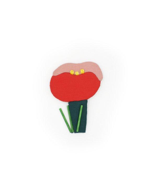 broche textile rouge et rose