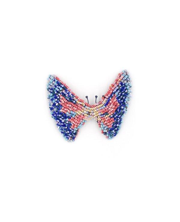 Papillon brodé deperles bleues, rouges et beiges